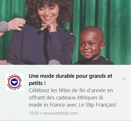 Web Push Notification - desktop slip français
