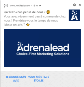 notification automatique avis client