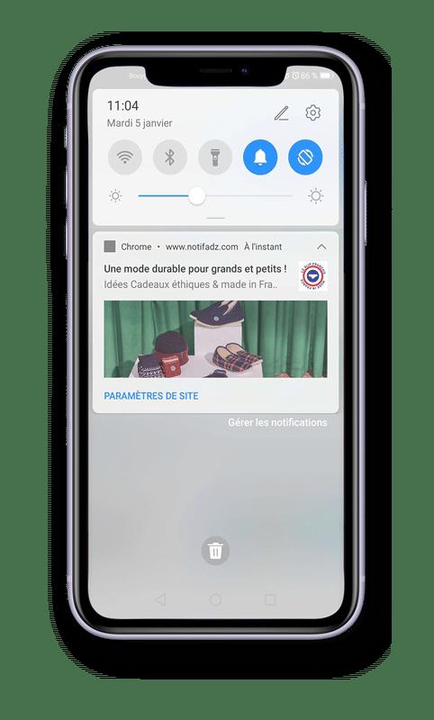 Web Push Notification - mobile slip français