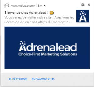 Notification automatique Welcome Push