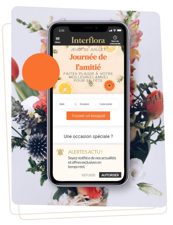 exemple web push alerte mobile interflora