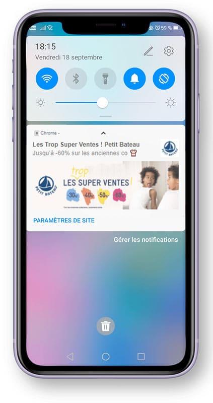 web push notification mobile petit bateau adrenalead