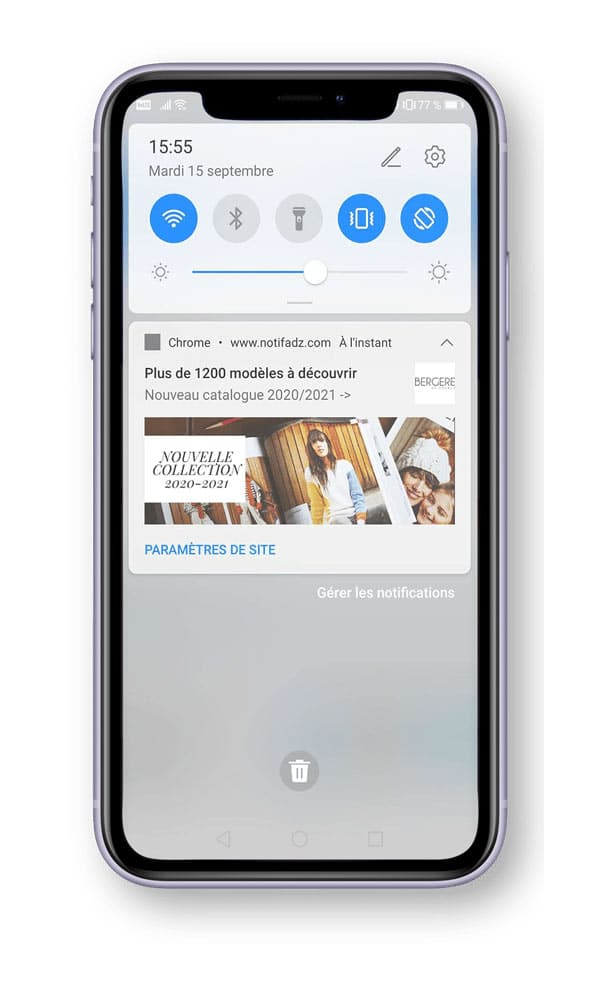 web push notification mobile bergere adrenalead