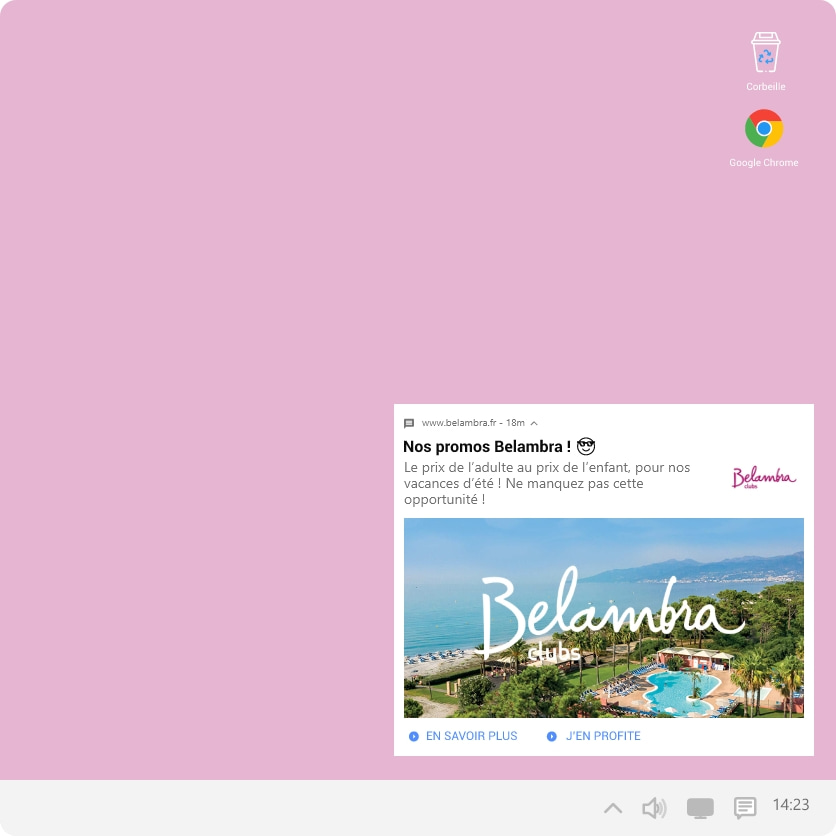 Belambra Web Push Notification Adrenalead Notification