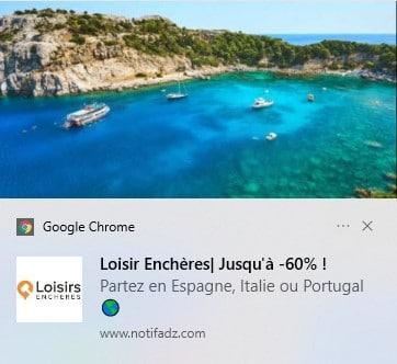 Web Push Desktop Loisir Enchères